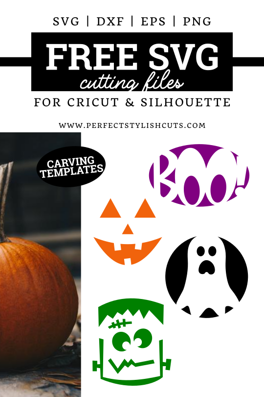 Download these 4 Pumpkin Carving FREE SVG Cutting Files for Cricut and Silhouette Cutting Machines - www.PerfectStylishCuts.com