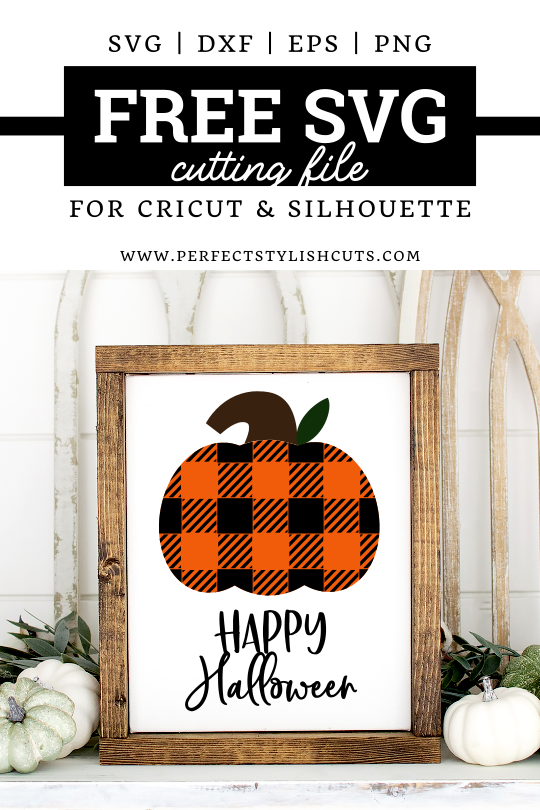 FREE Happy Halloween Plaid Pumpkin SVG file for Cricut and Silhouette cutting machines. From PerfectStylishCuts.com