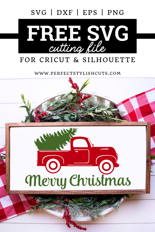 FREE Merry Christmas Old Red Truck SVG File for Cricut and Silhouette Projects from PerfectStylishCuts.com