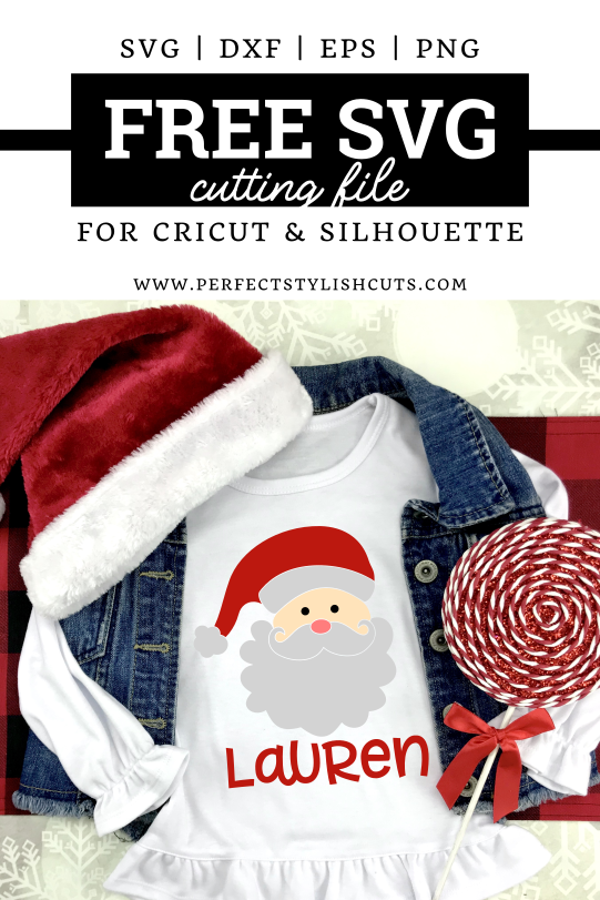 Free Santa Claus SVG File for Cricut and Silhouette projects from PerfectStylishCuts.com. Perfect to create personalized Christmas shirts.