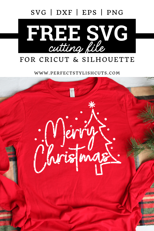 Free Merry Christmas SVG File With A Grunge Texture for Cricut and Silhouette projects from PerfectStylishCuts.com. Perfect to make a Christmas day shirt.