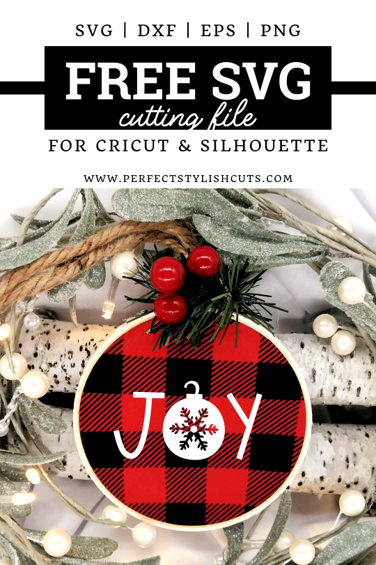 FREE Joy Hoop Ornament SVG File for Cricut projects and Silhouette Cameo projects from PerfectStylishCuts.com. Make perfect Christmas hoop ornaments with this free cut file design.