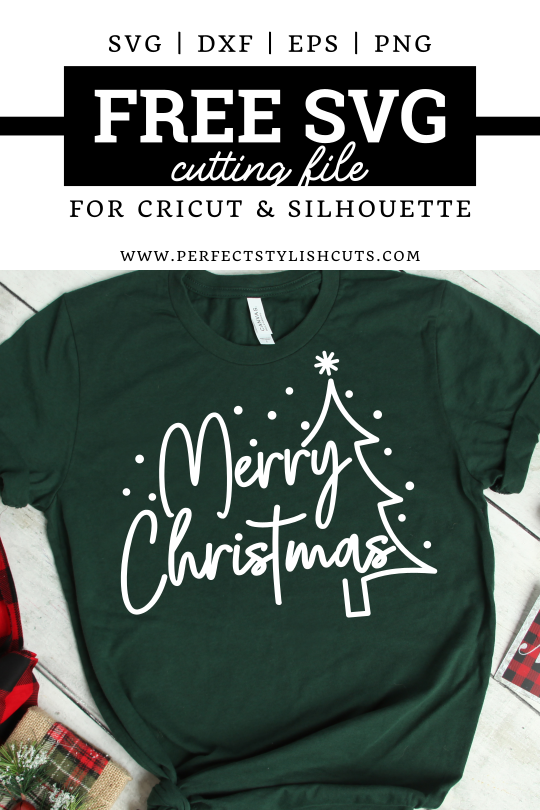 Free Merry Christmas SVG File for Cricut and Silhouette projects from PerfectStylishCuts.com. Perfect to make a single color Christmas t-shirt.