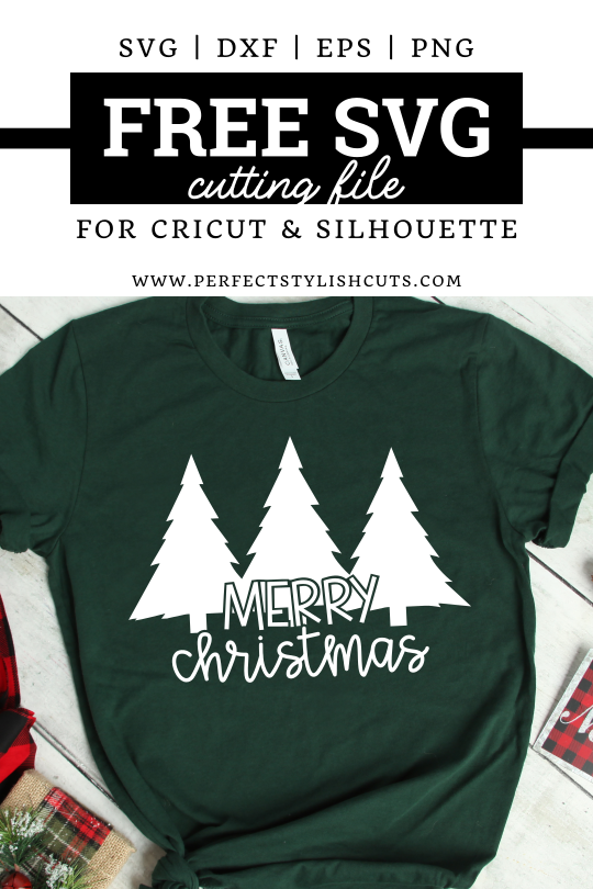 FREE Merry Christmas Trees SVG File for Cricut projects and Silhouette Cameo projects from PerfectStylishCuts.com. Perfect for a Christmas Day shirt.