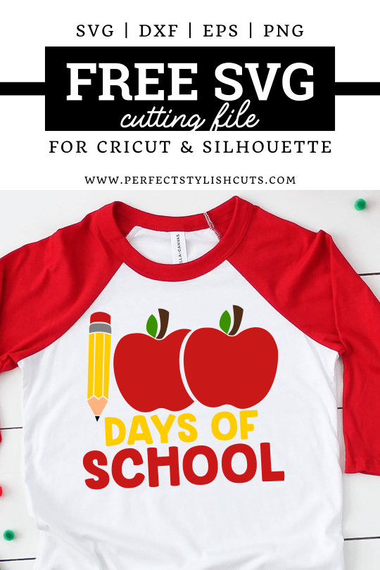 FREE 100 Days Of School SVG File for Cricut projects and Silhouette Cameo projects from PerfectStylishCuts.com. This FREE SVG cut file design is perfect for  100th day of school crafts with your cutting machine.