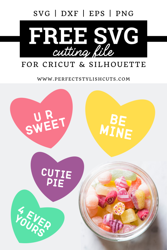 FREE Conversation Hearts SVG File for Cricut projects and Silhouette Cameo projects from PerfectStylishCuts.com. This FREE SVG cut file design is perfect for all Valentine's Day DIY crafts with your cutting machine.