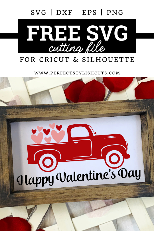 FREE Happy Valentines Day Old Red Truck SVG File for Cricut projects and Silhouette Cameo projects from PerfectStylishCuts.com. This FREE SVG cut file design is perfect for all Valentine's Day DIY crafts with your cutting machine.