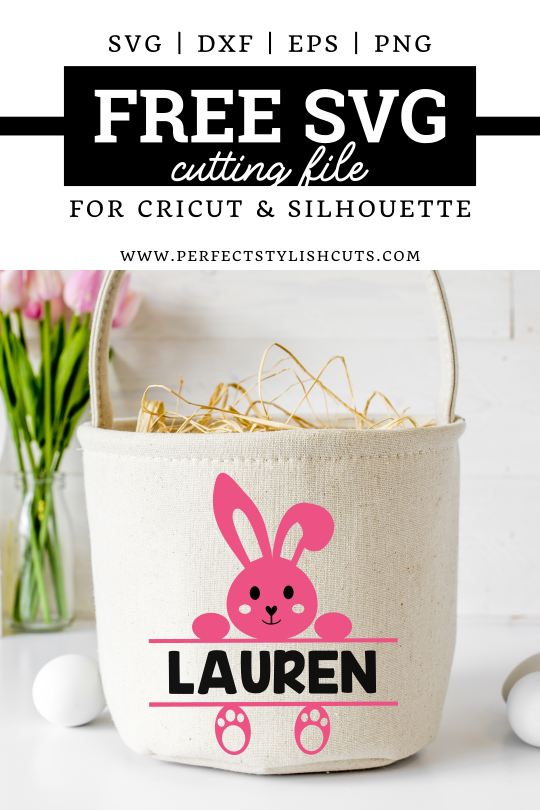 FREE Easter Bunny Split Monogram SVG File for Cricut and Silhouette Cameo. Use this design to decorate and personalize Easter baskets. FREE Easter Bunny SVG File