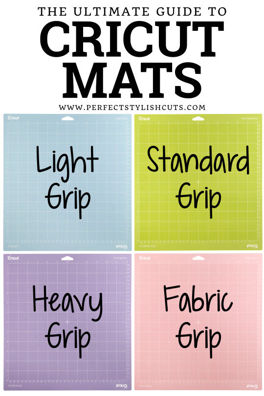 Find out which Cricut cutting mat is the right one to use for each of your craft projects with this ultimate guide to Cricut cutting mats.  #cricutcuttingmats #greenmat #pinkmat #bluemat #purplemat #standardgripmat #lightgripmat #fabricgripmat #heavygripmat #whichcricutmatdoiuse #whatcricutmatshouldiuse #cricutmat