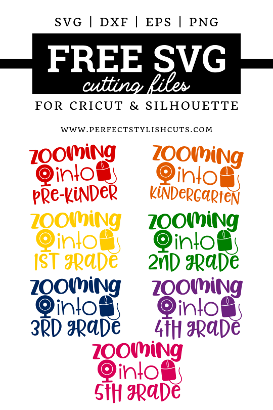 Download this FREE Zooming Back To School SVG Bundle with grades PreK through 5th Grade Included.