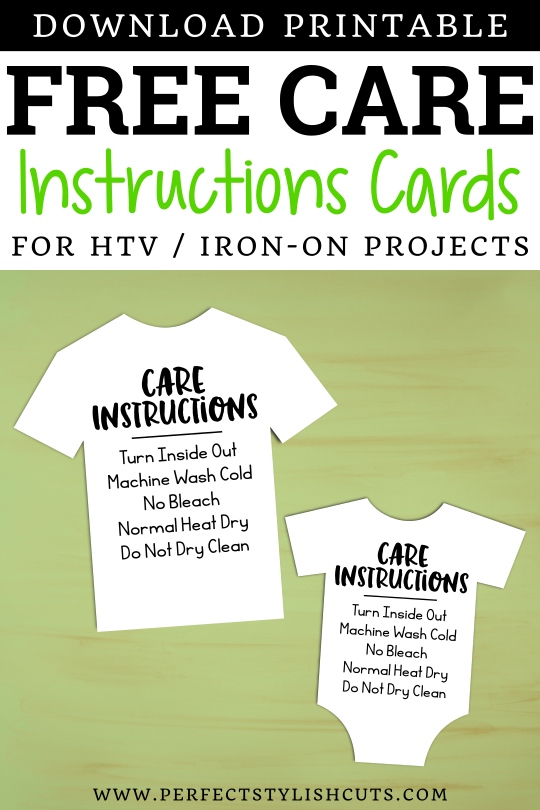 Download these FREE Care Instructions Cards for htv and iron on projects with your Cricut and Silhouette Cameo.