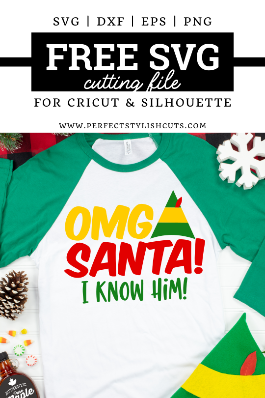 Use this FREE OMG I Know Santa SVG file from the movie Elf together with your Cricut cutting machine to make DIY Christmas Movie shirts.